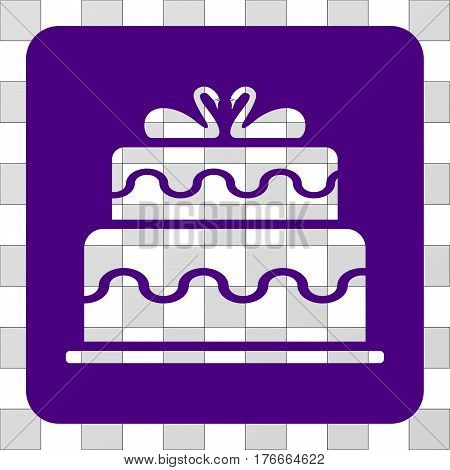 Marriage Cake square icon. Vector pictograph style is a flat symbol hole on a rounded square shape, indigo blue color.