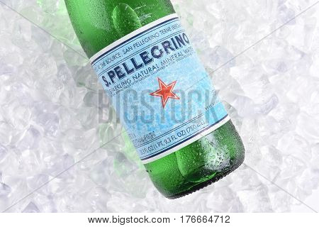 IRVINE CALIFORNIA - MARCH 16 2017: San Pellegrino Mineral Water on ice. The sparkling water is produced in San Pellegrino Terme in the Province of Bergamo Lombardy Italy.