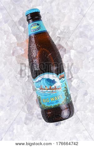 IRVINE CALIFORNIA - MARCH 16 2017: Kona Brewing Company Big Wave Golden Ale. The brewery is located in Kailua-Kona on the Big Island of Hawaii.