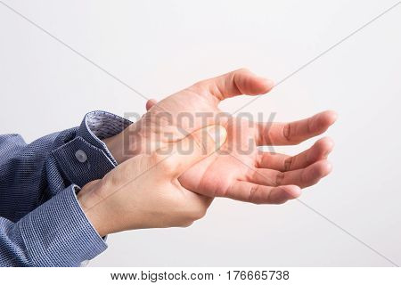 Business woman hands pain on white background,office syndrome concept