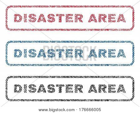 Disaster Area text textile seal stamp watermarks. Blue, red, black fabric vectorized texture. Vector caption inside rounded rectangular shape. Rubber sticker with fiber textile structure.