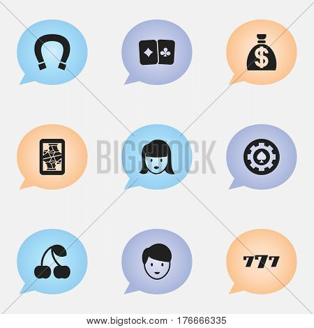 Set Of 9 Editable Casino Icons. Includes Symbols Such As Woman Face, Casino Worker, Lucky Seven And More. Can Be Used For Web, Mobile, UI And Infographic Design.