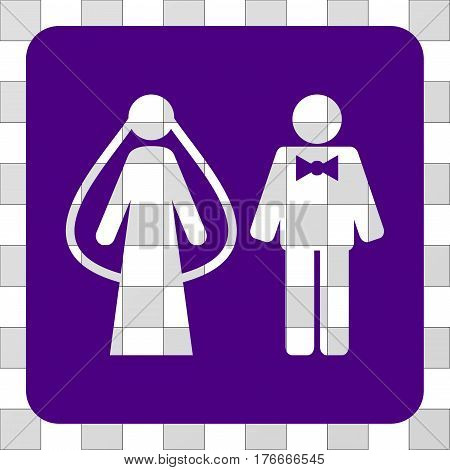 Weds Persons interface toolbar icon. Vector pictograph style is a flat symbol hole in a rounded square shape, indigo blue color.