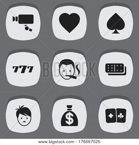 Set Of 9 Editable Casino Icons. Includes Symbols Such As Bones Game, Moneybag, Tracking Cam And More. Can Be Used For Web, Mobile, UI And Infographic Design.
