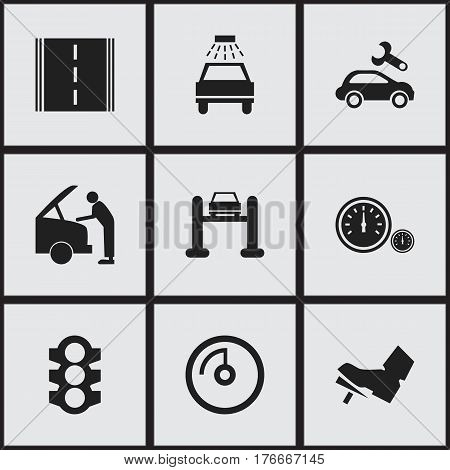 Set Of 9 Editable Transport Icons. Includes Symbols Such As Car Fixing, Highway, Stoplight And More. Can Be Used For Web, Mobile, UI And Infographic Design.