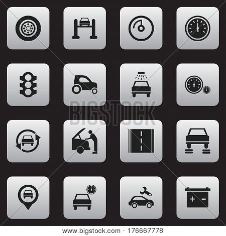 Set Of 16 Editable Car Icons. Includes Symbols Such As Stoplight, Vehicle Car, Highway And More. Can Be Used For Web, Mobile, UI And Infographic Design.