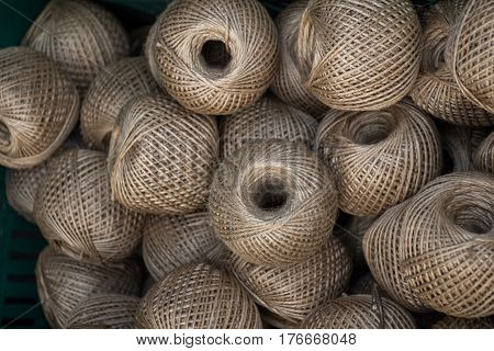 Spools Or Rolls Of Brown Color Linen String