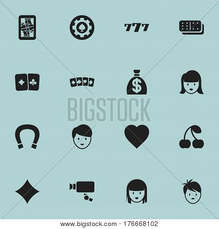 Set Of 16 Editable Game Icons. Includes Symbols Such As Card Suits, Moneybag, Tracking Cam And More. Can Be Used For Web, Mobile, UI And Infographic Design.