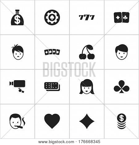 Set Of 16 Editable Casino Icons. Includes Symbols Such As Moneybag, Smoker, Stacked Money And More. Can Be Used For Web, Mobile, UI And Infographic Design.