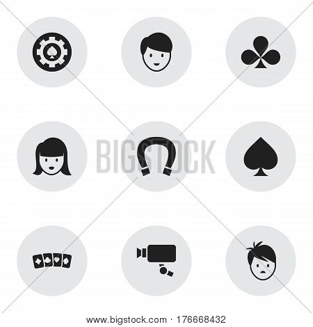 Set Of 9 Editable Excitement Icons. Includes Symbols Such As Casino Worker, Tracking Cam, Game Card And More. Can Be Used For Web, Mobile, UI And Infographic Design.