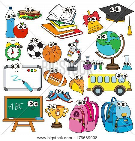 Vector set of funny school items and janitor.