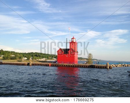 Little Red Lighthouse in Holland Michigan on a beautiful summer day