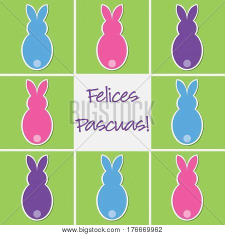 Retro Easter Bunny Card In Vector Format. Words Translate To