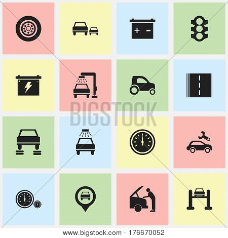 Set Of 16 Editable Transport Icons. Includes Symbols Such As Car Lave, Automotive Fix, Highway And More. Can Be Used For Web, Mobile, UI And Infographic Design.