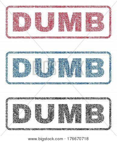 Dumb text textile seal stamp watermarks. Blue, red, black fabric vectorized texture. Vector tag inside rounded rectangular shape. Rubber sign with fiber textile structure.