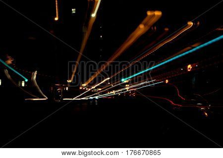 abstract street view at night zoom effect