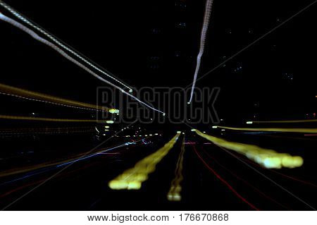 zoom out effect night street scene abstract background