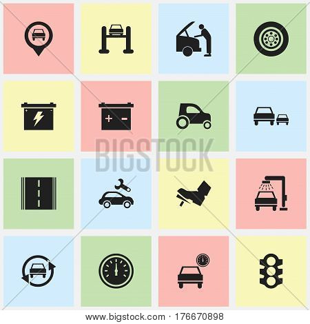 Set Of 16 Editable Traffic Icons. Includes Symbols Such As Stoplight, Accumulator, Vehicle Wash And More. Can Be Used For Web, Mobile, UI And Infographic Design.