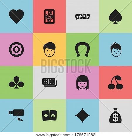 Set Of 16 Editable Game Icons. Includes Symbols Such As Black Heart, Female Face, Moneybag And More. Can Be Used For Web, Mobile, UI And Infographic Design.