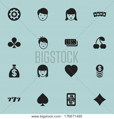 Set Of 16 Editable Business Icons. Includes Symbols Such As Casino Worker, Moneybag, Female Face And More. Can Be Used For Web, Mobile, UI And Infographic Design.