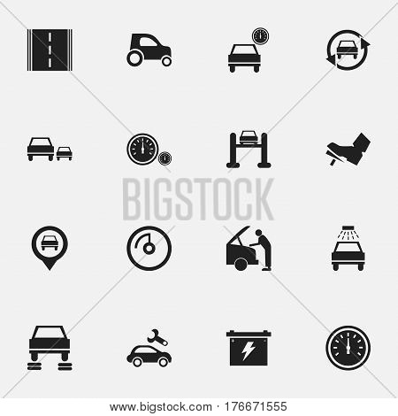 Set Of 16 Editable Traffic Icons. Includes Symbols Such As Speedometer, Treadle, Auto Repair And More. Can Be Used For Web, Mobile, UI And Infographic Design.