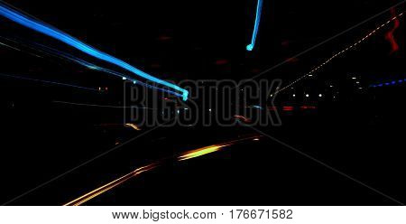 street lights at night zoom out effect abstract
