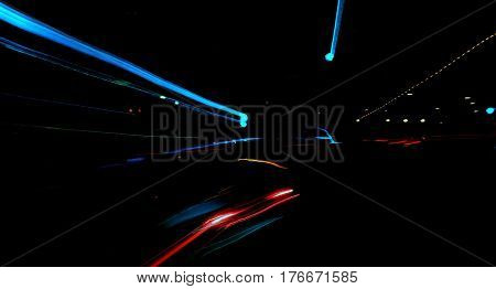 abstract street scene light tails zoom out effect