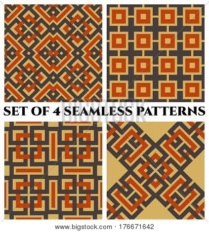 Set of 4 abstract stylish geometrical seamless patterns with celtic ornament of gray orange and beige shades