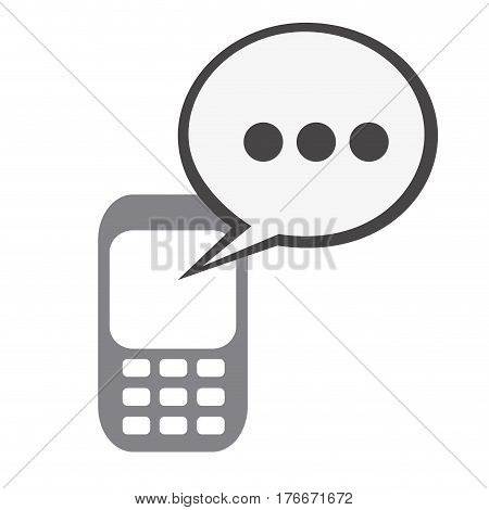 silhouette tech cellphone and dialog box icon flat vector illustration