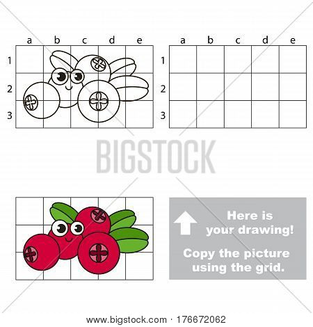 Copy the picture using grid lines. Easy educational kid game. Simple level of difficulty. Copy the Cow Berry.