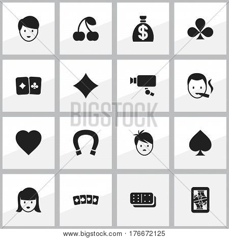 Set Of 16 Editable Business Icons. Includes Symbols Such As Boy, Moneybag, Game Card And More. Can Be Used For Web, Mobile, UI And Infographic Design.