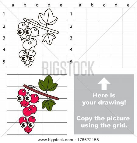 Copy the picture using grid lines. Easy educational kid game. Simple level of difficulty. Copy the Red Currant.