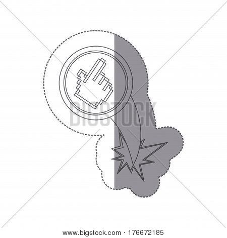 sticker silhouette circular frame with pixelated hand pointing ejection flying vector illustration