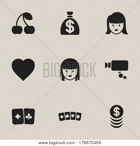 Set Of 9 Editable Excitement Icons. Includes Symbols Such As Love, Stacked Money, Card Suits And More. Can Be Used For Web, Mobile, UI And Infographic Design.