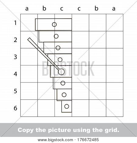 Vector kid educational game with easy game level for preschool kids education, finish the simmetrical picture using grid sells, the funny drawing kid school. Drawing tutorial for xylophone.