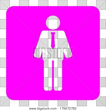 Groom rounded icon. Vector pictograph style is a flat symbol perforation centered in a rounded square shape, magenta color.