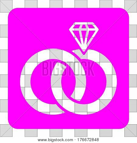Jewelry Wedding Rings square icon. Vector pictogram style is a flat symbol hole on a rounded square shape, magenta color.