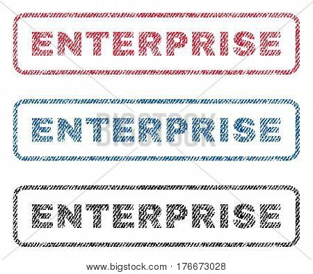 Enterprise text textile seal stamp watermarks. Blue, red, black fabric vectorized texture. Vector tag inside rounded rectangular shape. Rubber emblem with fiber textile structure.