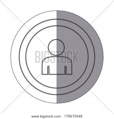 sticker silhouette circular frame with silhouette half body figure person vector illustration