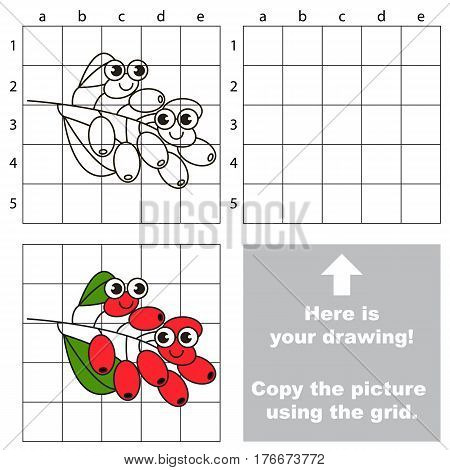 Copy the picture using grid lines. Easy educational kid game. Simple level of difficulty. Copy the Burberry.