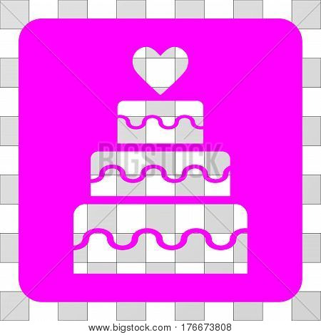 Marriage Cake interface toolbar icon. Vector pictogram style is a flat symbol hole centered in a rounded square shape, magenta color.