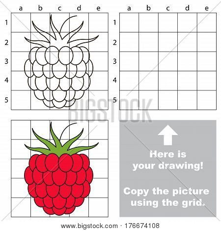 Copy the picture using grid lines. Easy educational game for kids. Simple kid drawing game with Red Sweet Raspberry.
