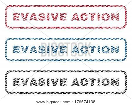 Evasive Action text textile seal stamp watermarks. Blue, red, black fabric vectorized texture. Vector tag inside rounded rectangular banner. Rubber sign with fiber textile structure.