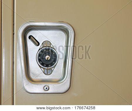 Closeup of a Combination Lock on a School Locker
