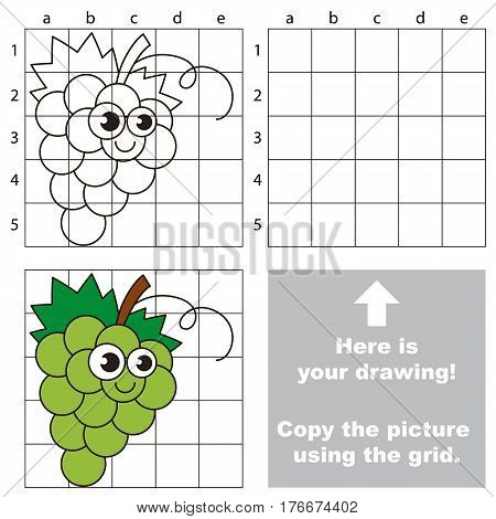 Copy the picture using grid lines. Easy educational kid game. Simple level of difficulty. Copy the White Grapes.