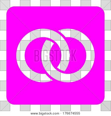 Wedding Rings square icon. Vector pictograph style is a flat symbol perforation centered in a rounded square shape, magenta color.