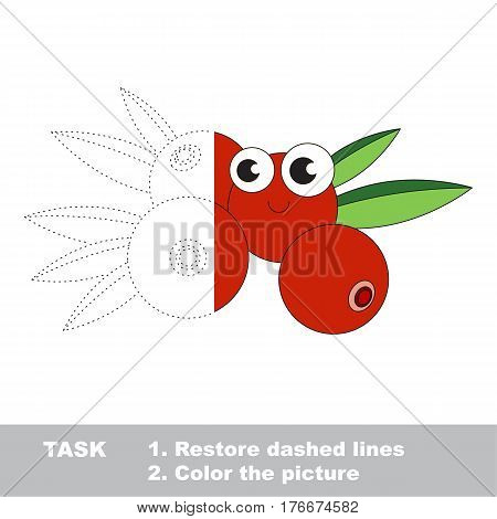 Cranberry in vector to be traced. Restore dashed line and color the picture. Visual game for children. Easy educational kid gaming. Simple level of difficulty. Worksheet for kids education.