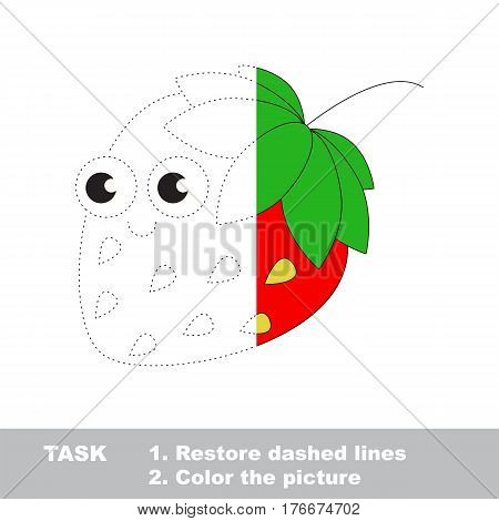 Strawberry in vector to be traced. Restore dashed line and color the picture. Visual game for children. Easy educational kid gaming. Simple level of difficulty. Worksheet for kids education.