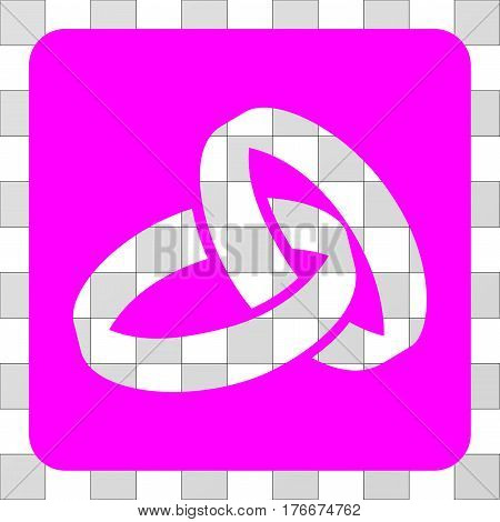 Wedding Rings interface icon. Vector pictogram style is a flat symbol perforation on a rounded square shape, magenta color.