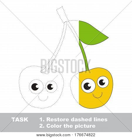 Yellow cherry in vector to be traced. Restore dashed line and color the picture. Visual game for children. Easy educational kid gaming. Simple level of difficulty. Worksheet for kids education.